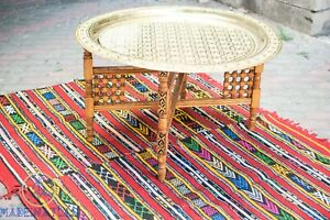 Moroccan Brass Table Boho coffee table large brass tray Moroccan Furniture table