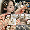 5PCS Women Crystal Pearl Bobby Snap Stick Pin Barrette Clips Hairpin Accessories