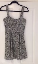 TFNC LONDON BLACK WHITE DITSY SUMMER STRAPPY SWING DRESS SIZE S