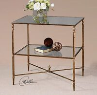 "NEW 26"" AGED GOLD LEAF METAL IRON ACCENT SIDE END TABLE MIRROR TOP GLASS SHELF"