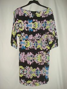 Attention Womens Dress 3/4 Open Sleeve Banded Waist Black Floral Cold Shoulder