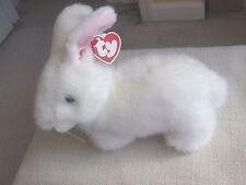 Ty Bows White Rabbit Easter Rabbit Retired Easter Gift Plush Rabbit Beanie