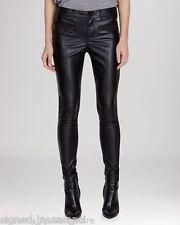Karen Millen Skinny Zip Faux Leather Panel Slim Stretch Black Trousers  12 40