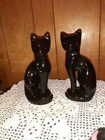 Pair black Siamese cat ceramic vintage statues mid century retro Made in Taiwan