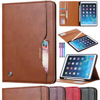 """Leather Wallet Case Cover with Pencil Holder for Apple iPad 9.7"""" Inch 5/6th Gen"""