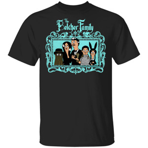 The Belcher Family Bob's Burgers Bob Addams Family Gothic Cartoon Black T-shirt