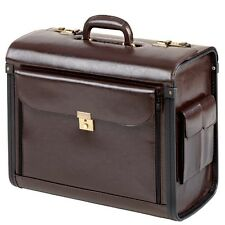 PILOTENKOFFER Koffer mit Vortasche Seitentaschen Echt Leder braun dunkelbraun XL