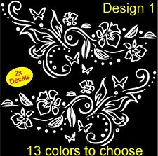 2 x Flower/Butterfly Vinyl Stickers decals,car,window,van (13 colors to choose)
