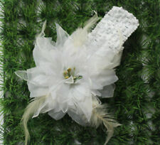 white feather lily ribbon hair clip bow crochet headband accessory for baby