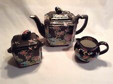 Mason's Black Chinese Ironstone Tea Pot Sugar Bowl & Creamer over 100 years old.