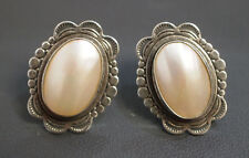 Silver .925 Q.T. Stud Oval Mother of Perl Earrings