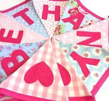 Girls Personalised Name Bunting/Banner Blue Pink Cath Kidston