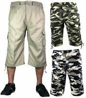 Mens 3/4 Summer Shorts Elasticated Waist Cargo Combat Three Quarter Holiday Camo