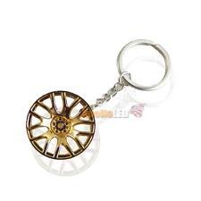 Golden Yellow Aluminum Alloy Car Keychain Key Ring Tuning Parts Turbo Wheels