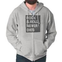 Rock And Roll Never Dies Music Classic Rock Zipper Sweat Shirt Zip Sweatshirt
