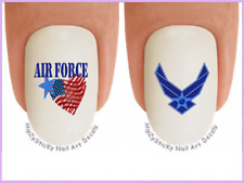 Nail Art #5615 MILITARY Air Force Flag Heart Wings Waterslide Nail Decal Transfr