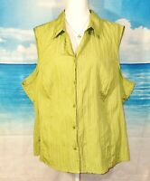 Womans LIGHTWEIGHT Blouse GREEN Textured Top STRETCH Shirt PLUS SIZE 2x 18/20