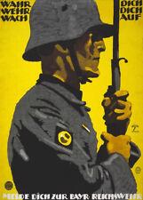 More details for 2w6 vintage wwi german bavarian reichswehr recruitment war poster ww1 a1 a2 a3
