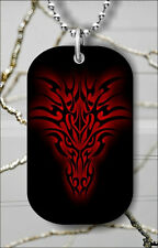 RED DRAGON HEAD TRIBAL DESIGN DOG TAG PENDANT NECKLACE FREE CHAIN -hbn7Z