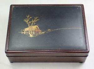 Antique Japanese Taisho Mixed Metal Scenic House Figures Hardwood Box 1900s