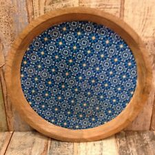 ETHICALLY SOURCED FAIR TRADE MANGO WOOD PLATE WITH MOROCCAN INSPIRED DESIGNS