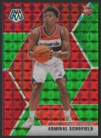 2019-20 Panini Mosaic GREEN and RED 202 Admiral Schofield RC Rookie Card Wizards