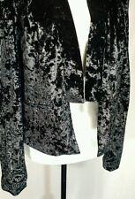 Womens XL Black Tuxedo Bolero Crushed Velour DECREE Shoulder Pads