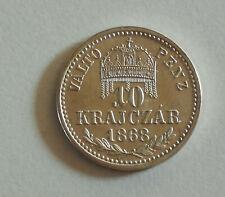 Hungary 10 Krajczar 1868 UNC silver Franz Joseph