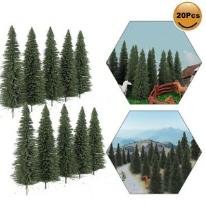 20pcs Model Pine Trees 12.5cm Deep Green Pines HO O Scale Model Railway Layout