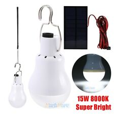 8000K Portable LED Bulb Out/Indoor Solar Panel Lighting System Camping Light 15W
