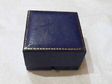 Vintage dark blue leather covered ring box, A E Poston & Co Ltd, EC4