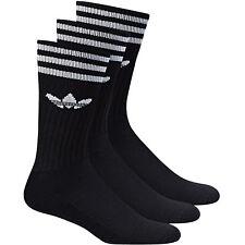Adidas Solid Crew calcetines juego de 3 paquete negro blanco 35 - 38