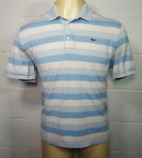Lacoste Men's White Blue Striped Short Sleeve Polo Golf Shirt Size 6 (Large)