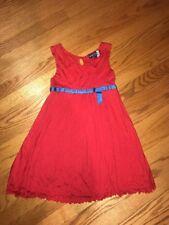 MINI BODEN Bright Red Cherry & Blue Bow Girls Sailor Precious Dress Sz 7 8 Y #