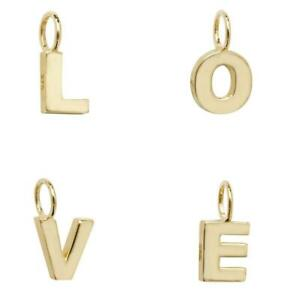 9ct Yellow Gold Small 6mm Block Capital 3D Initial Pendants Letters A-Z 0.40g