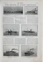 1900 Estampado White Star Forro Oceanic Viper Torpedo Barco Destructor Británico
