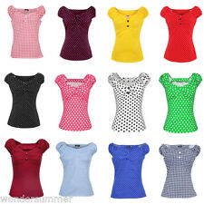 Women Peasant Tops Rockabilly Vintage Style Blouse Pinup Shirt Red Black Blue +
