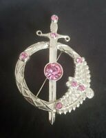 MIRACLE CELTIC SCOTTISH SWORD BROOCH silvertone pink stones modern statement