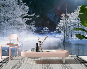 3D Self-adhesive Forest Covered with White Snow Living Room Wall Stickers Murals