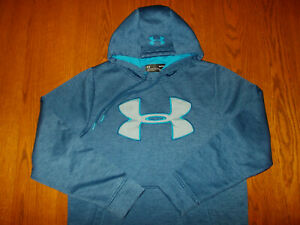 UNDER ARMOUR COLD GEAR HEATHER BLUE HOODED SWEATSHIRT MENS SMALL EXCELLENT COND