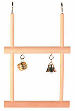 Wooden Double Swinging Trapeze with 2 Bells Bird Cage Budgie Canary Toy