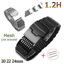 20mm 22mm 24mm Mesh Link Bracelet Watch Strap Milanese Loop Band w Secure Clasp
