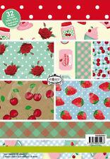 32 FOGLI STAMPATI A5 a tema cucina fragole rose pois x SCRAPBOOKING Paper stack