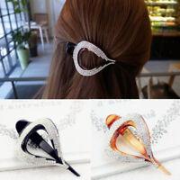 AM_ AM_ Fashion Women Shiny Rhinestone Leaf Hairclip Hairpin Clip Hair Accessory