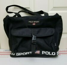 VTG 90s Ralph Lauren Polo Sport Side Bag Laptop Messenger Crossbody Bag Black