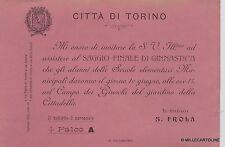 # TORINO: 1905 INVITO DEL SINDACO S. FROLA AL SAGGIO FINALE DEGLI ALUNNI SCUOLE