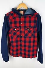 Levi Strauss & Co Boys Casual Hooded Shirt Red Flannel Cotton size 16 yrs