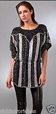 NEW Parker black & silver Beaded Tunic Top Dress Elastic Waist Kimono S