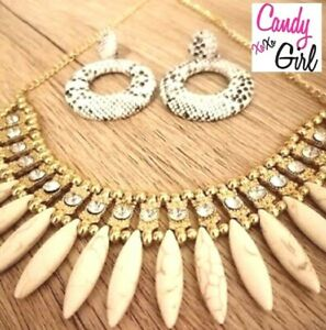 Gold Chunky Metallic & Crystal Fashion Statement Necklace Evening Wedding Party