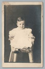 Cute Kid in High Chair RPPC Antique Oklahoma Estate Photo—Baby 1910s